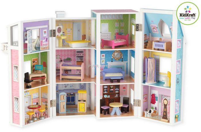 Кукольный деревянный домик мадемуазель, с мебелью и куклами