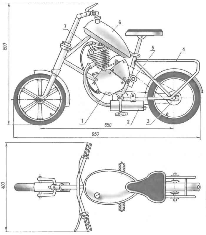 Мини-мокик из велосипеда