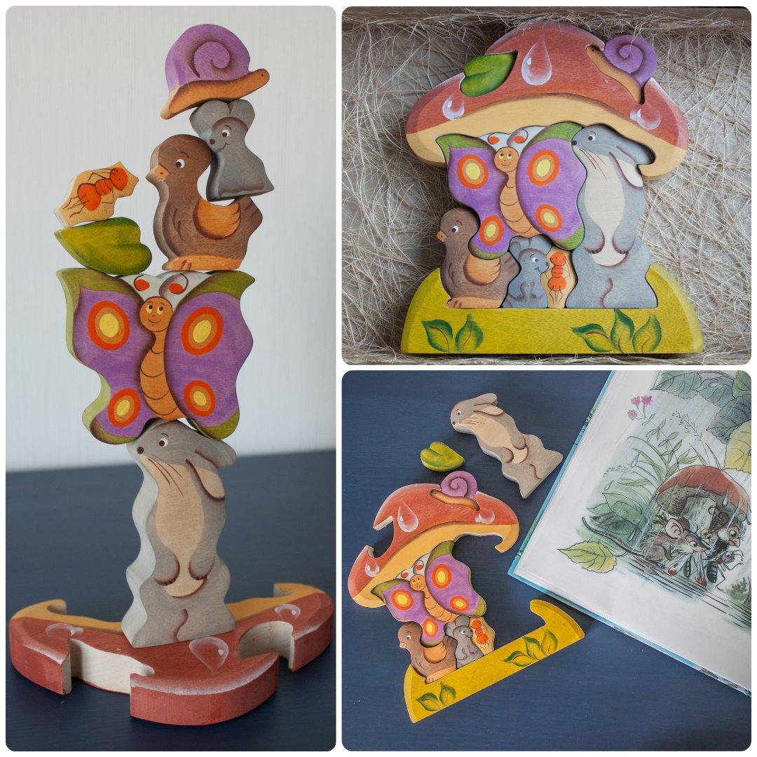 Мини-обзор деревянного пазла «под грибом» от мастерской «сказки дерева»