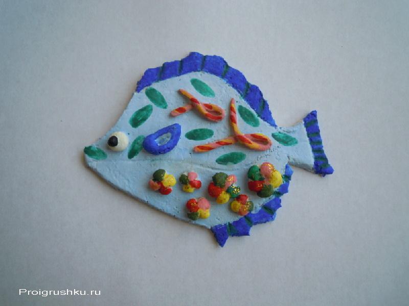 Поделка из солёного теста своими руками - рыбка-цветочница. мастер-класс