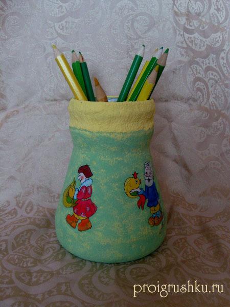 Поделка - стакан для карандашей (карандашница) с помощью декупажа.